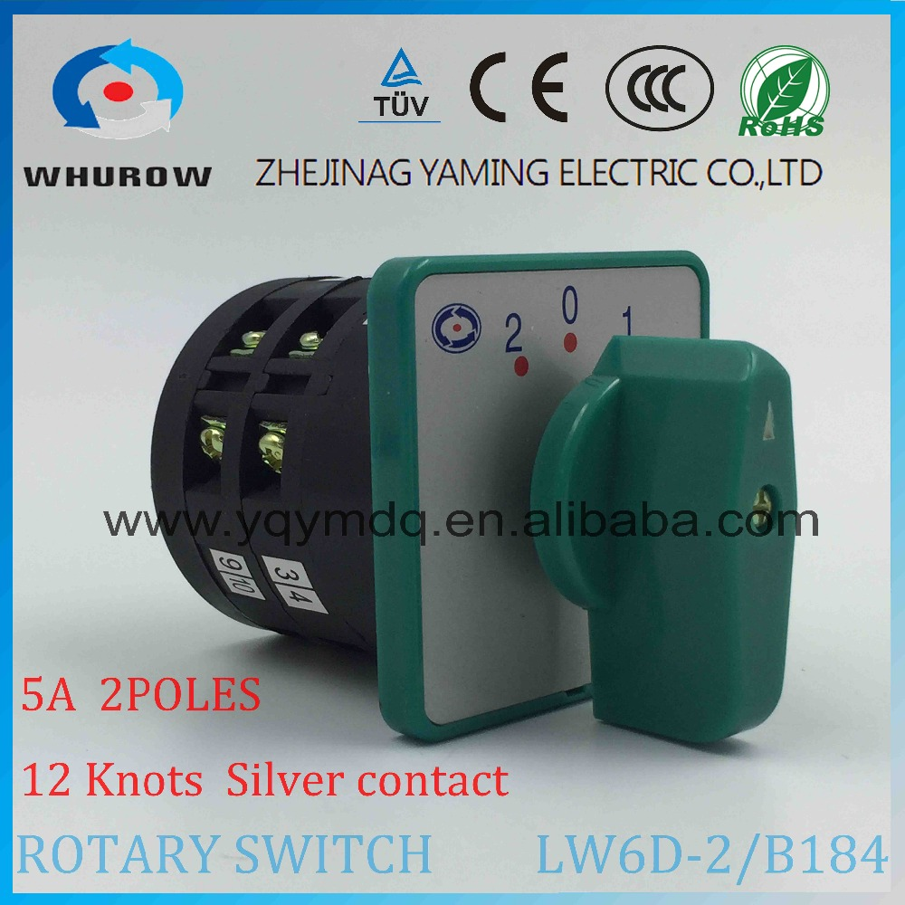 Rotary switch 3 positions LW6-2/B184 green changeover cam universal switch 380V 5A 2 pole 12 terminals sliver contacts thgs 8 terminals 5 positions master control rotary cam switch 20a black blue