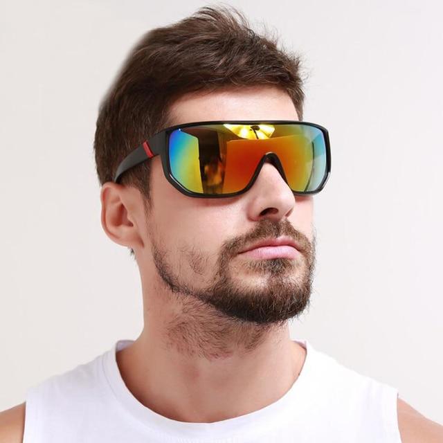 c24db752c52 2018 Mens Goggle Oversized Sport Sunglasses Flat top Frame Women Sun Glasses  Wind Protection Glasses UV400