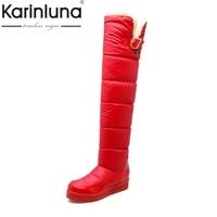 KarinLuna הגהת מים פרווה חמה מגפי שלג נשים הגדלת גובה להחליק על נעלי אישה גודל גדול 34-43 חורף מגפיים ארוכים