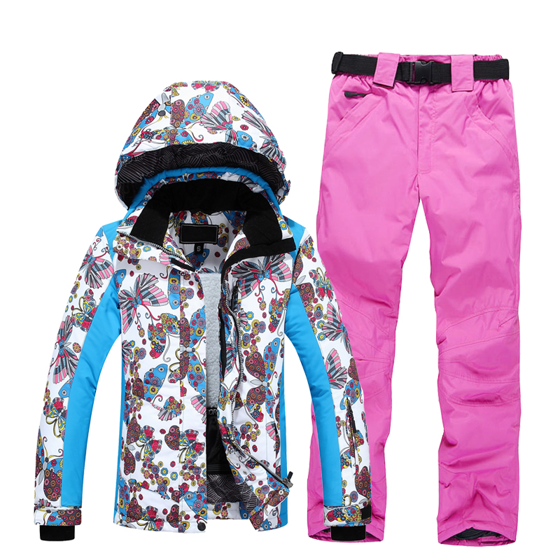 Ski Suit Women Warm Waterproof Skiing Suits Set Ladies Outdoor Sport Winter Coats Snowboard Snow Jackets and Pants Free Shipping winter snow clothing ski suits women snowboard pants skiing jackets keep warm waterproof female skiwear outdoor snoboarding