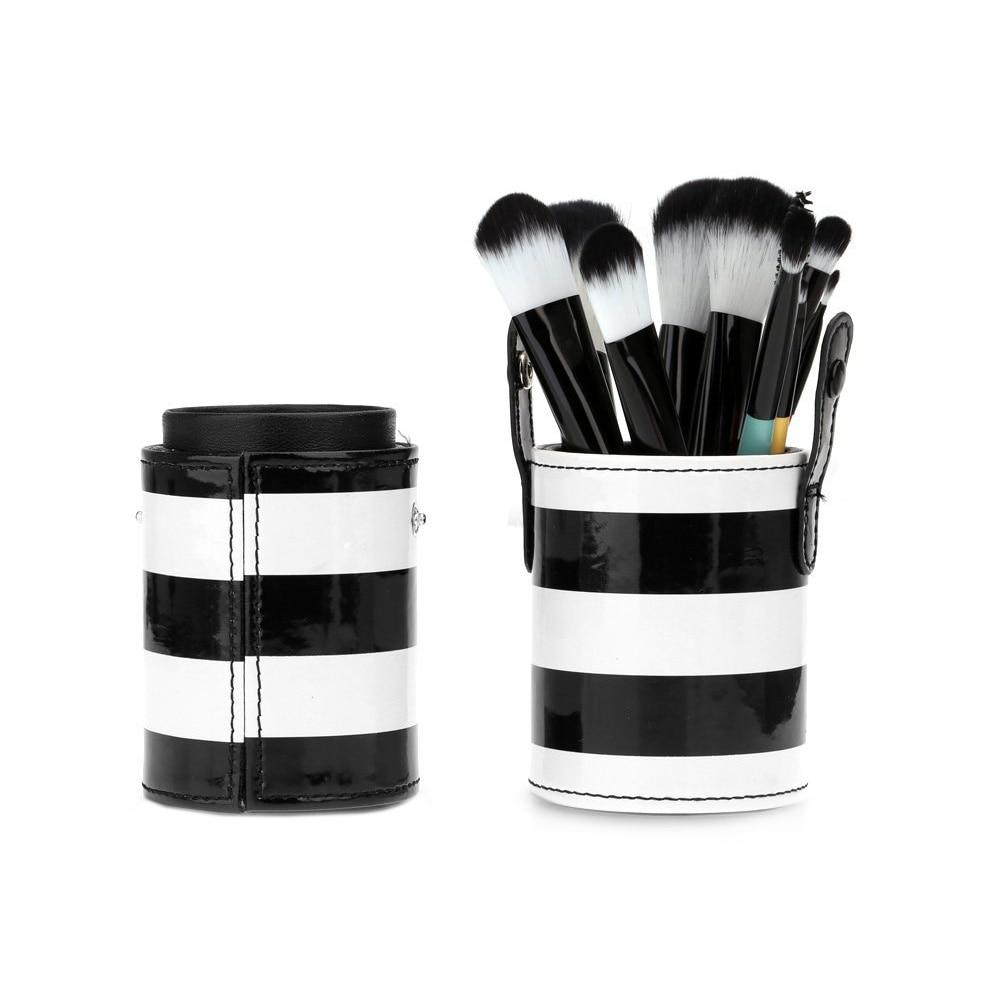 5 X HTHL 10pcs Professional Wooden Handle <font><b>Makeup</b></font> Brush Set Cosmetic Brush Kit Tool with <font><b>Cup</b></font> Leather Holder Case (White + <font><b>Black</b></font>)
