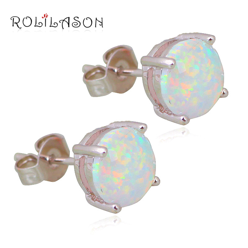 Wholesale & Retail Simple style White Fire Opal 925 sterling Silver Stamped Stud Earrings Fashion Jewelry Opal Jewelry OE118 ...