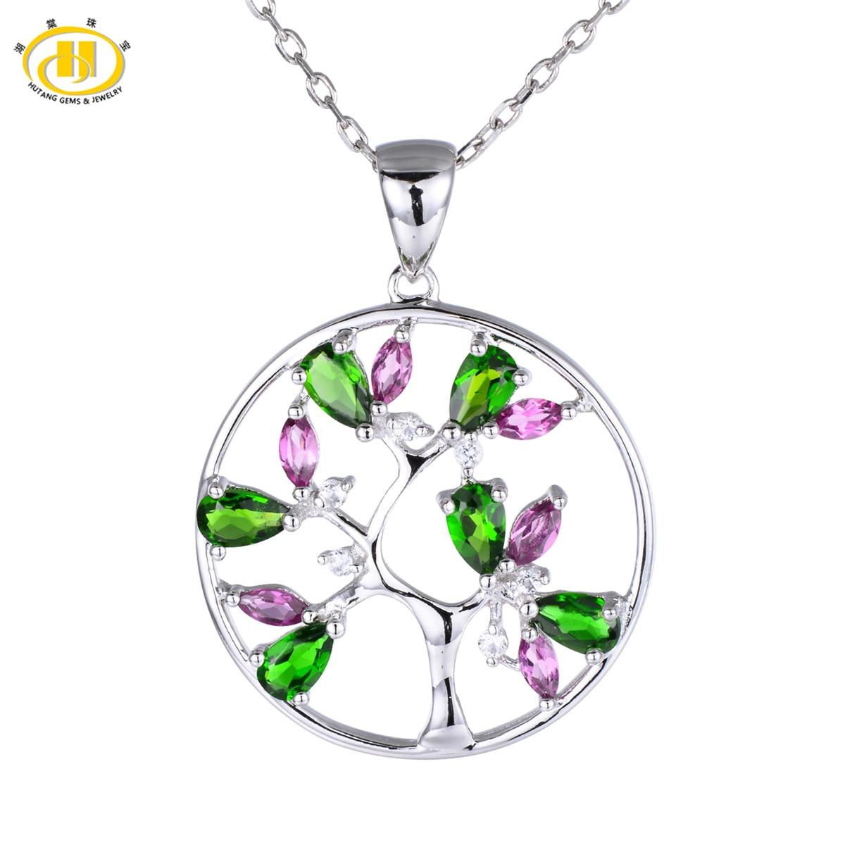 Здесь продается  Hutang Classic Natural Chrome Diopside & Rhodolite Tree Pendant 925 Sterling Silver Topaz Gemstone Necklace Fine Jewelry Gift  Ювелирные изделия и часы