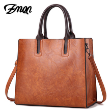 ZMQN Luxury Brands Bags Womens leather Handbags Large Capacity Retro Vintage Hand Top-Handle Bags Solid Tote Sac Shoulder C901