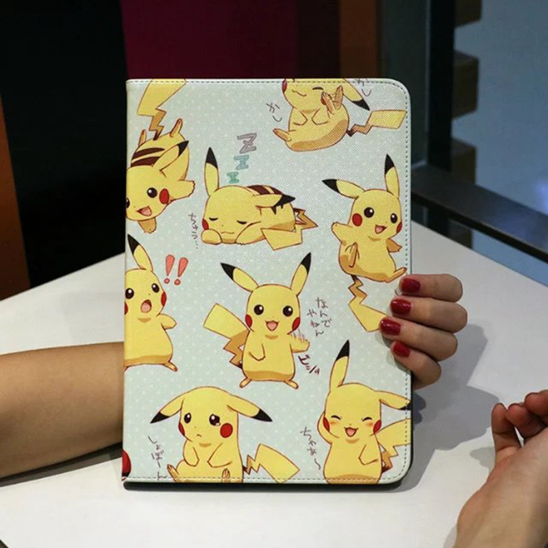 Case for Apple ipad mini 1/2/3/4 Pokemon Go Pikachu prints multifunction PU leather protective Cover stand shell coque para for ipad mini4 cover high quality soft tpu rubber back case for ipad mini 4 silicone back cover semi transparent case shell skin