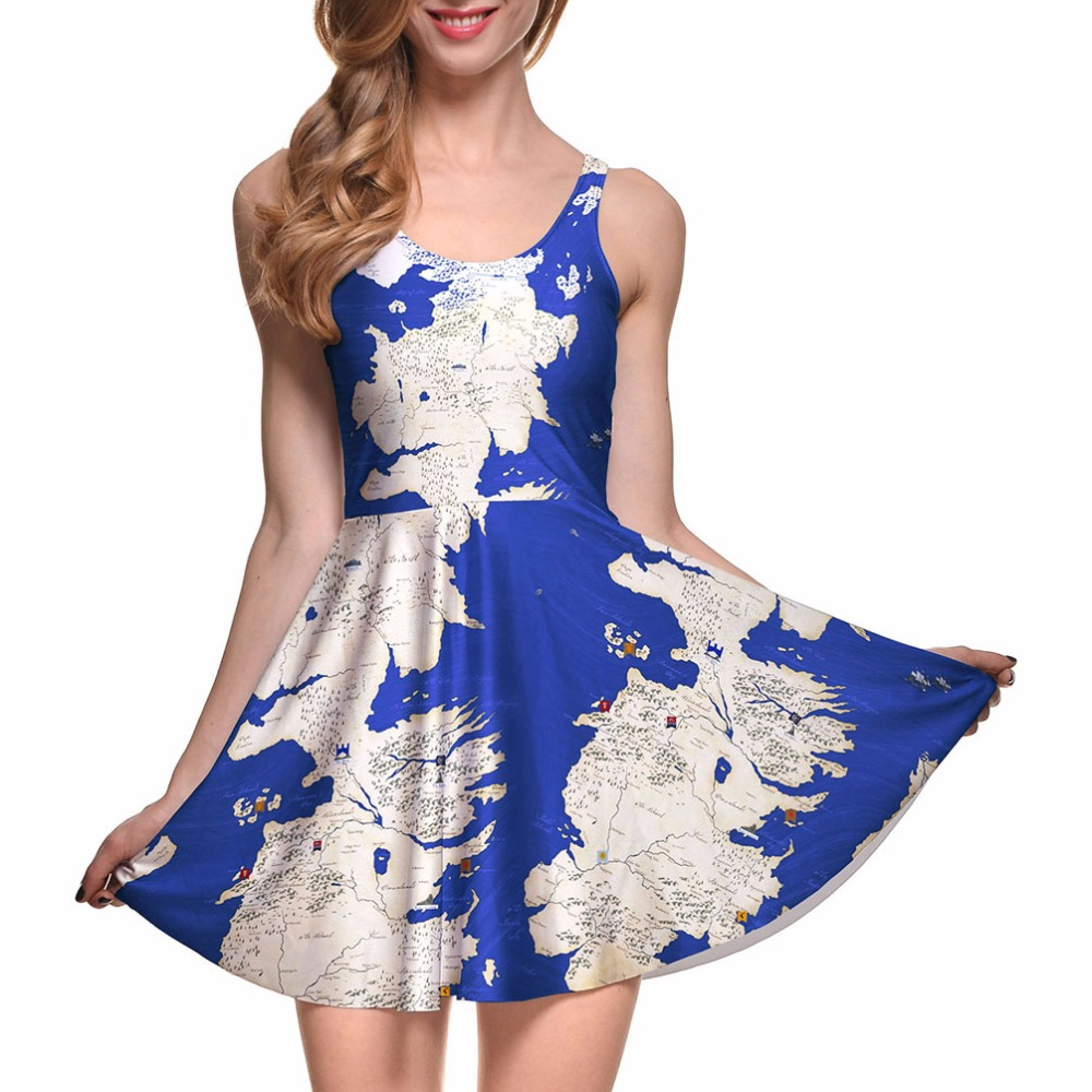 0d594ea028 Sexy Plus Size Fit and Flare Plaid Printing REVERSIBLE SKATER DRESS  Vestidos Blue Map Print Casual Dress S M L To 4xL