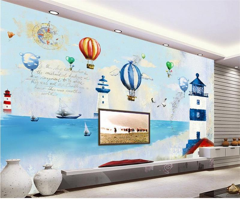 custom 3d photo wallpaper kids room mural balloon lighthouse sea 3d photo painting TV background non-woven wallpaper for wall 3d 3d wallpaper custom mural non woven 3d room wallpaper black and white circle line 3 d painting photo 3d wall murals wallpaper