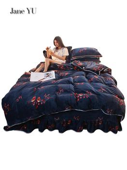JaneYU Antarctic Bed Skirt Coral Fur 4 pieces Set Thickened Winter Bed Sheet Cover Bed With Farley Flannel Double Side