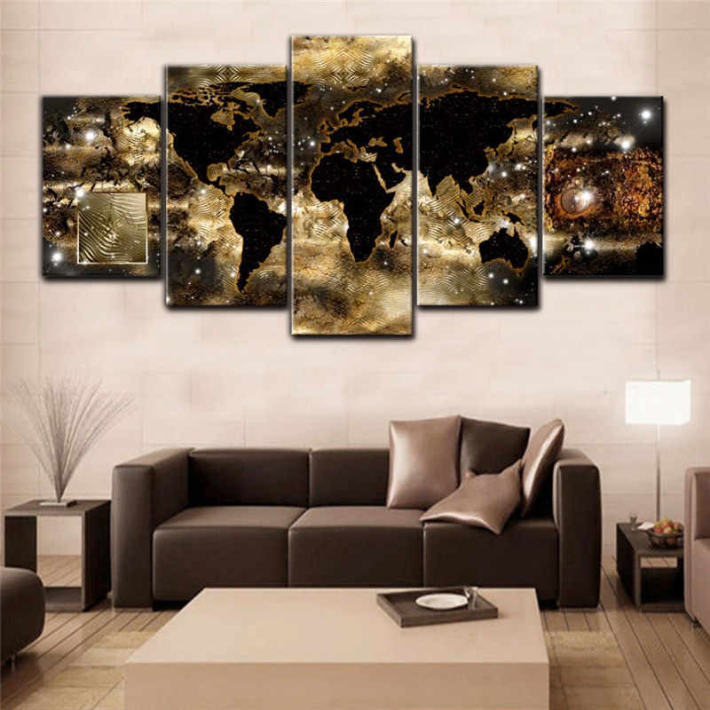 HD Posters and Prints for Living Room Wall Art 5 Pieces World Map Canvas Painting Modular Pictures for Living Room Home Decor