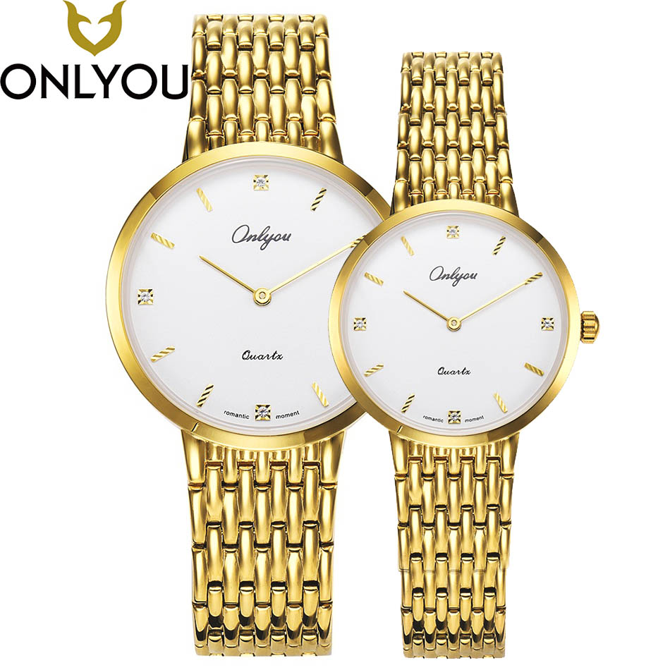 ONLYOU Lovers Watches Luxury Romantic Diamond Surface Fashion Men Wristwatch Dress Business Quartz Couple Watch Wholesale nary musical notation retro casual quartz wristwatch couple pu leather men watch women dress watches romantic lovers gift clocks