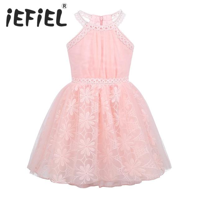 15bcfc28fe6ff Fleur dentelle princesse Costume enfants robes pour fille princesse d été filles  fête enfants Floral dentelle Tulle fleur filles robe