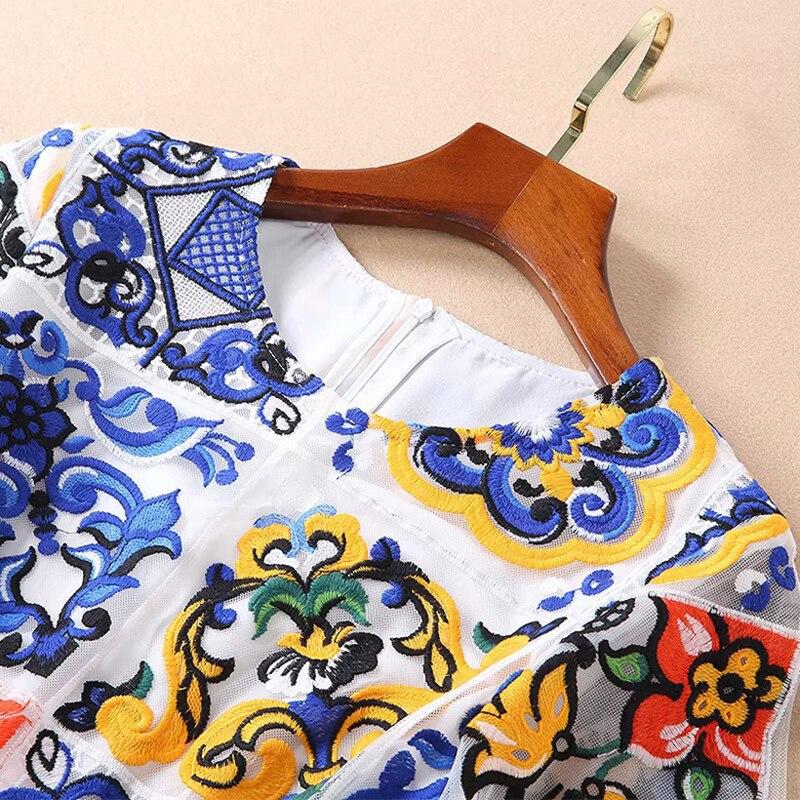 neck 2019 Maille Broderie Manches Moitié Qualité De Robe O Rétro Vintage Mode Femelle Longueur Printemps Haute Genou UxqHrAU7w