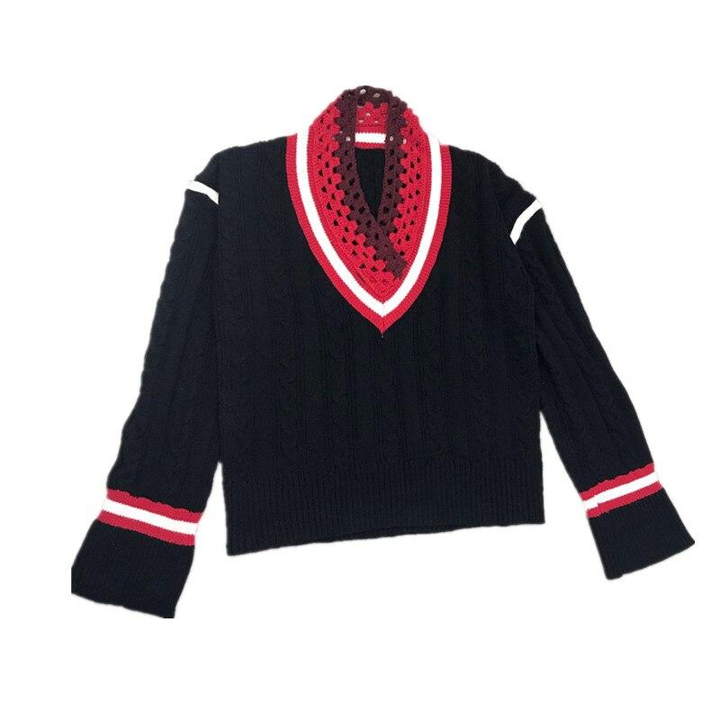 Crochet De Col Tricot Casual 2018 Main Large Tordu Coton Jumper En À Chandail Plein cou Polyester Femmes La Noir V Nouvelle Nouvelles Arrivée A01gq6f
