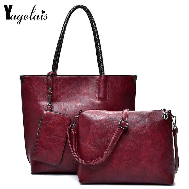 Women Leather Handbags Luxury Solid Color 3 Sets Ladies Composite Bag Fashion Clutch Bags For Women Shoulder Bags Purse Wallet