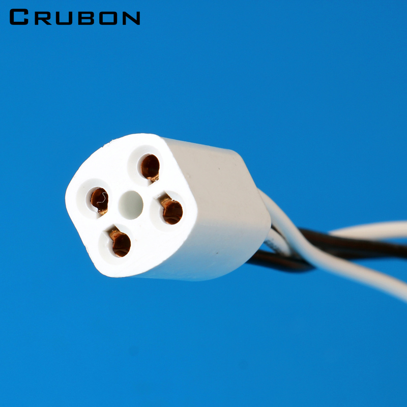 CRUBON G10Q <font><b>Lamp</b></font> Holder with 20cm Line T4 T5 <font><b>T8</b></font> Ring <font><b>Lamp</b></font> Plug 4pins <font><b>Lamp</b></font> <font><b>Socket</b></font> 10pcs/lot image