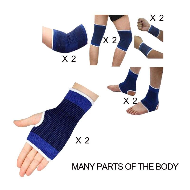 Fitness spor sıcak oda mavi bilek/bilek/dirsek/diz ayak bileği palm ekipman seti