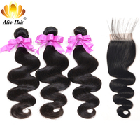 Aliafee 3 Bundles Deal With Closure 4 Pcs Lot Brazilian Body Wave Non Remy Human Hair