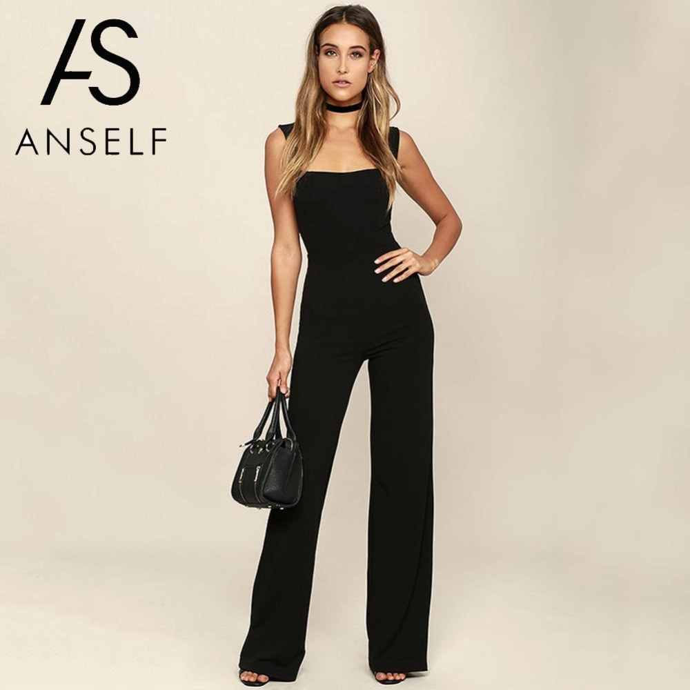Womens Jumpsuit Elegant Lady Rompers Flared Square Neck Overalls Sleeveless Back Zipper Playsuit female dungarees Pantsuit Black