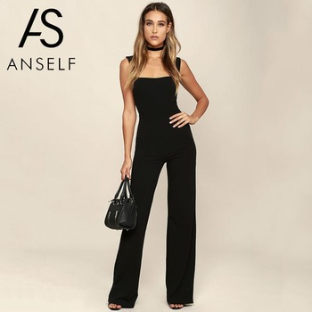 716c554ccf Read More Womens Jumpsuit Elegant Lady Rompers Flared Square Neck Overalls  Sleeveless Back Zipper Playsuit female dungarees Pantsuit Black