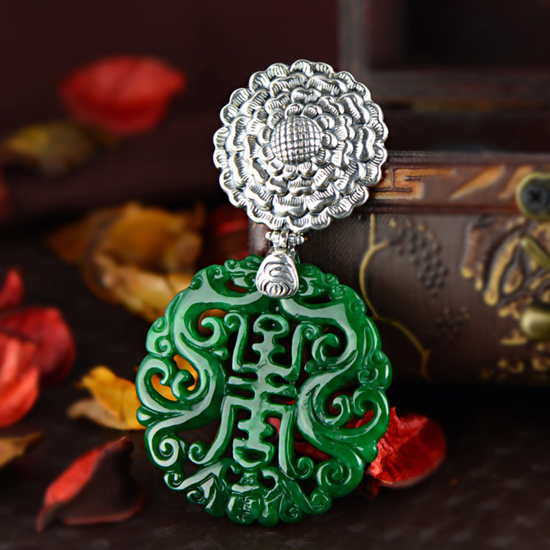 Real Pure Sterling Silver 925 Green Jade Pendant For Women Natural Gemstone Antique Retro Pendant Charm