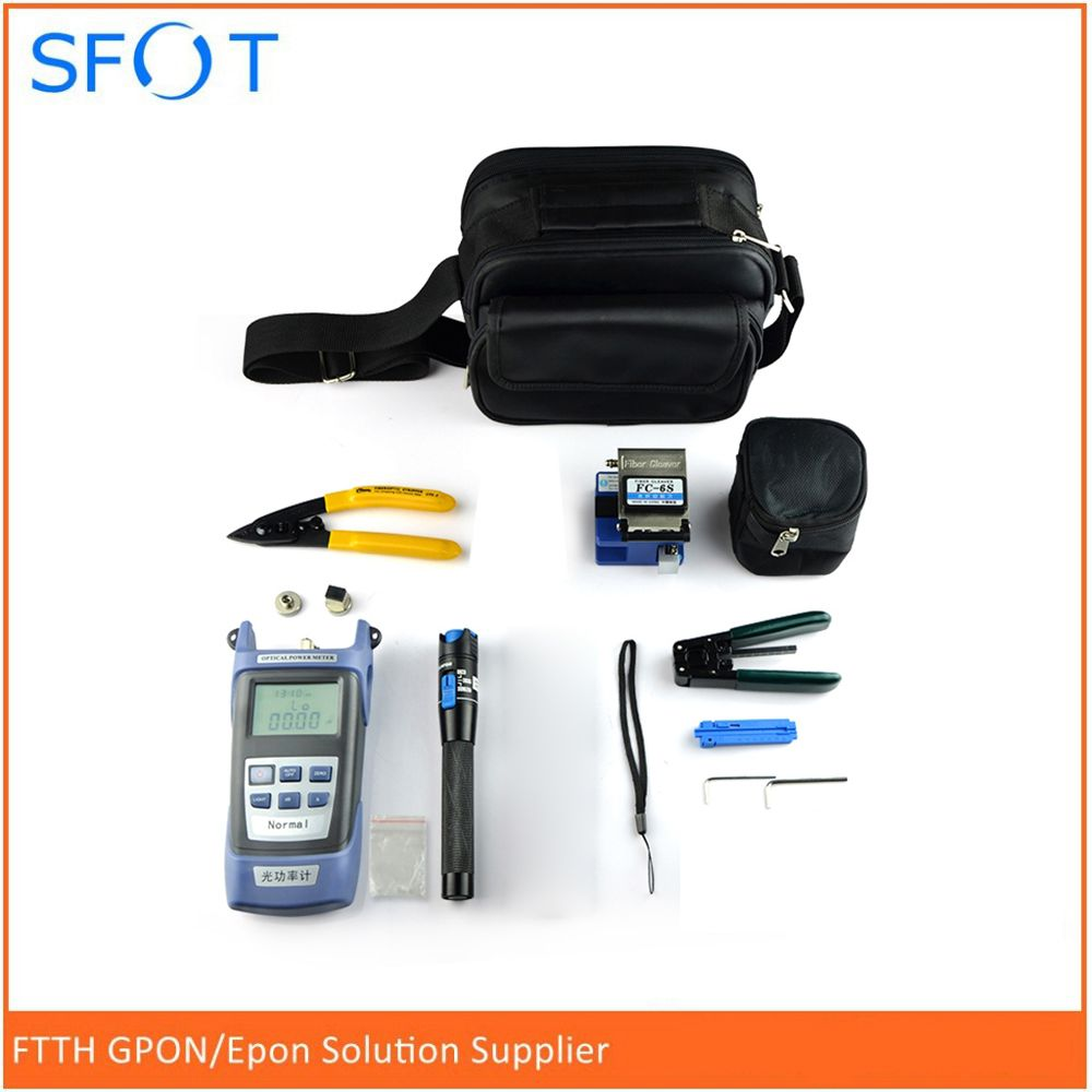 Free shipping FTTH Cooling Tool Kit Toolbox Leather Wire Cable Tool Set Optical Power Meter Red