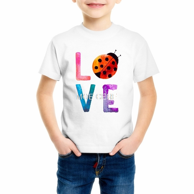 Latest styles Lady Bug Print Girl/Boy/Baby/Childrens tshirt Casual Hipster Funny Love kids t shirt For Girl Top Tee K11-4