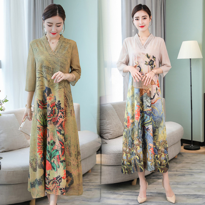 S 4XL 2019 new fashion Peacock Printed Women 39 s spring Dress V Neck Long Dresses high quality Party Elegant Vestido Loose Robe in Dresses from Women 39 s Clothing