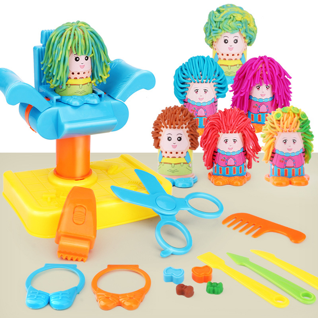 17pcs Kids Boy Girl Barber Role Pretend Play Toy Haircut Game Tools Kit - Modeling Clay Crazy Cut Hair Doll Makeup Head Set new kids pod swing chair nook hanging seat hammock nest for indoor and outdoor use great for children kids 7 types