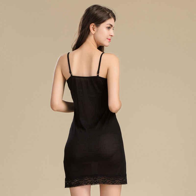 9efad243ce774 ... Women Full Slips REAL SILK lace slip Solid nude white black Anti  emptied dress new underwear ...