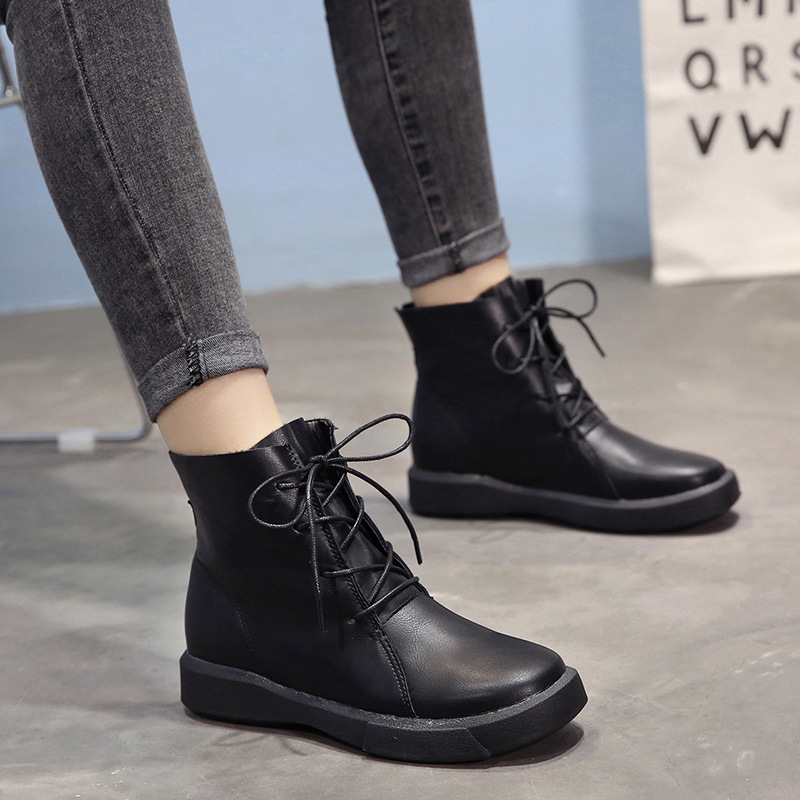 Women Boots 2018 Hot Ankle Boots Female Martin Boots Warm Winter Shoes Woman Work Shoes Leather Boots Thick Bottom Ladies Shoes