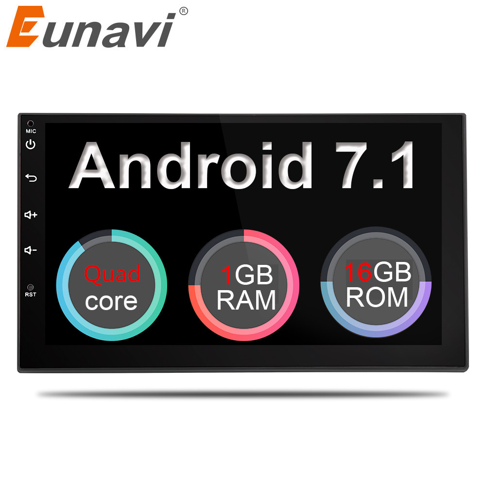 Eunavi 2 Din 7 ''Android 7.1 Universal Auto Radio Doppel din Stereo GPS Navigation In Dash Pc Video WIFI USB 2din BT