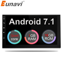 """Eunavi 2 Din 7"""" Android 7.1 Universal Car Radio Double din Stereo GPS Navigation In Dash Pc Video WIFI USB 2din BT"""