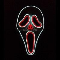 24 Typ Sound Aktiviert Halloween-geist Gesichter Maske EL draht Glowing Flexible LED Neon licht Maske Für Dekoration