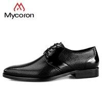 MYCORON/Новинка 2018 г. итальянские мужские ботинки с круглым носком на шнуровке, оксфорды высокого качества, Мужская обувь из воловьей кожи, дело