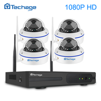 Techage 4CH 1080P Wireless NVR Wifi CCTV Camera System 2.0MP VandalProof Indoor Dome IP Camera Video Security Surveillance Kit
