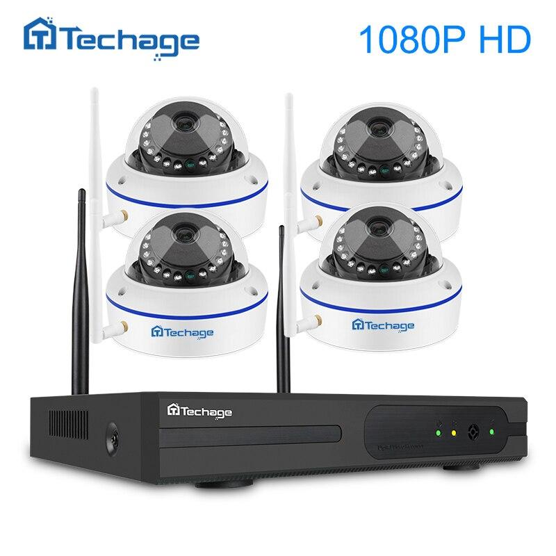 Techage 1080 P Беспроводная система видеонаблюдения 4CH P 1080 P NVR комплект 2MP VandalProof закрытый купол Wifi ip-камера видеонаблюдения комплект