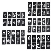 OPHIR 50x Airbrush Sheet Stencils 5 Series for Body Paint Temporary Tattoo Stencils,Tattoo Accesories Kit 7.1 x 3.6cm_TA032(A-E) golden phoenix book 14 temporary airbrush tattoo stencils mickey mouse and donald duck series for body art paint makeup cosmetic