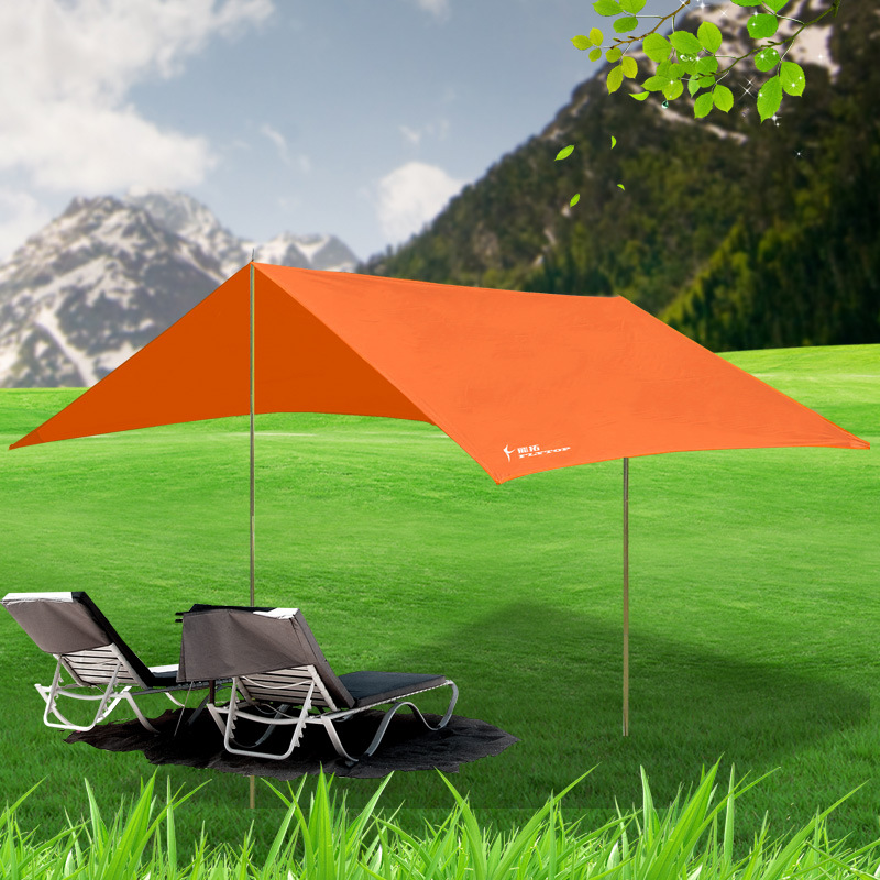 FLYTOP 4m outdoor Tent Awning Fishing Hiking Sun Shelter Camping Anti-UV Ultralight Waterproof Beach awning iron poles