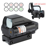 Tactical Hunting Holographic 4 Type Reticle Reflex Green Red Dot Sight Laser Sight Combo Airsoft