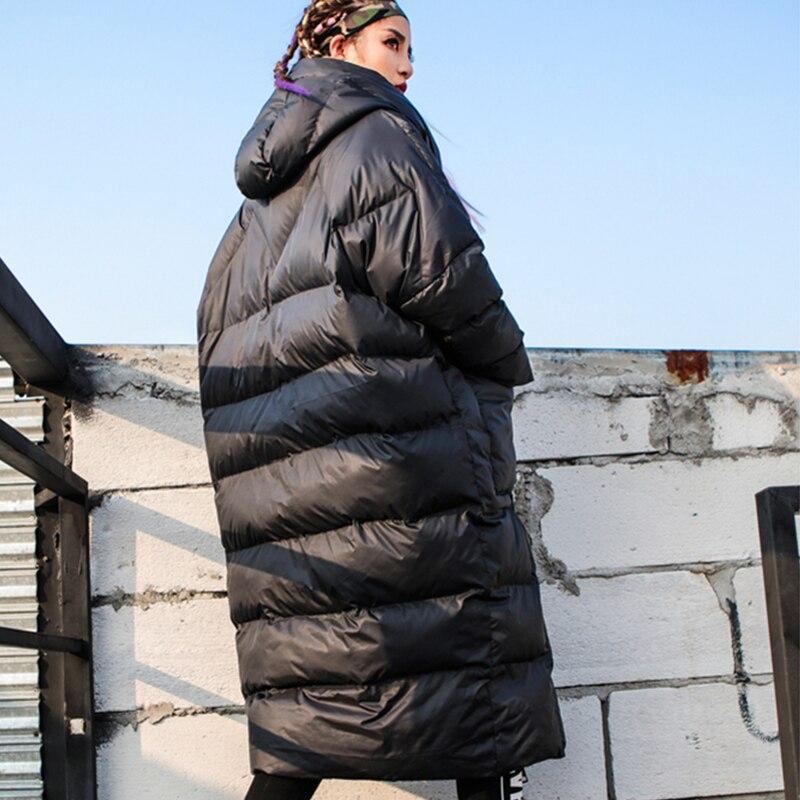 Coton Épais La De Nouveau X Black 2019 Femmes Chaud Occasionnel Noir Plus Parka À Mode Manteau Veste Lâche Hiver Z399 Ouatée Capuchon Femme Taille longue wqn1AOI
