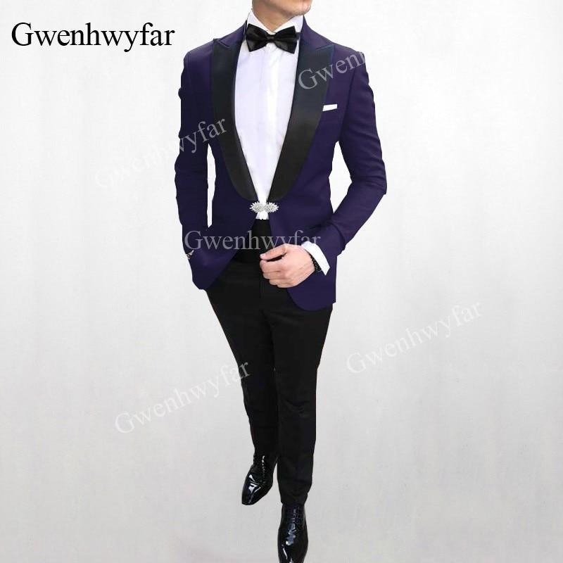 Gwenhwyfar 2019 wiosna kryształ klamra serii Slim Fit biznes formalna odzież Tuxedo suknia ślubna garnitury męskie formalne kostium Homme w Garnitury od Odzież męska na  Grupa 1