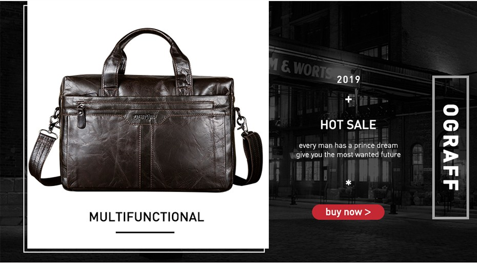 genuine leather bag men male briefcase