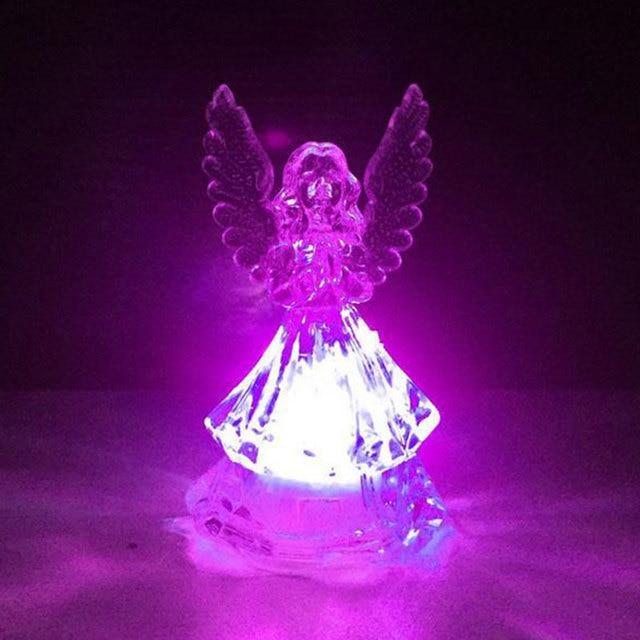 Transparente LED luz Noche del ngel acrlico decoracin casera
