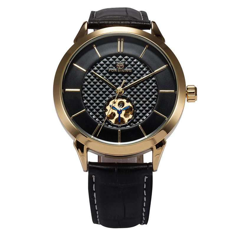 FORSINING Brand Mens Watches Luxury Gold Case Leather Belt Black Dial Auto Mechanical Male Relogio Wristwatches