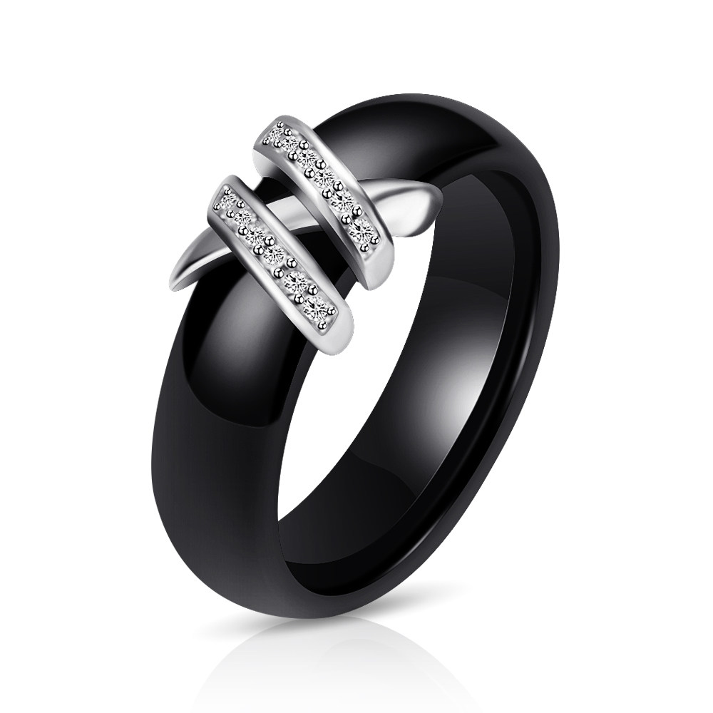 Best 6mm High Quality Black And White Simple Style Two Line Crystal Ziron Ceramic Rings For Women Fashion Jewelry Gift 4