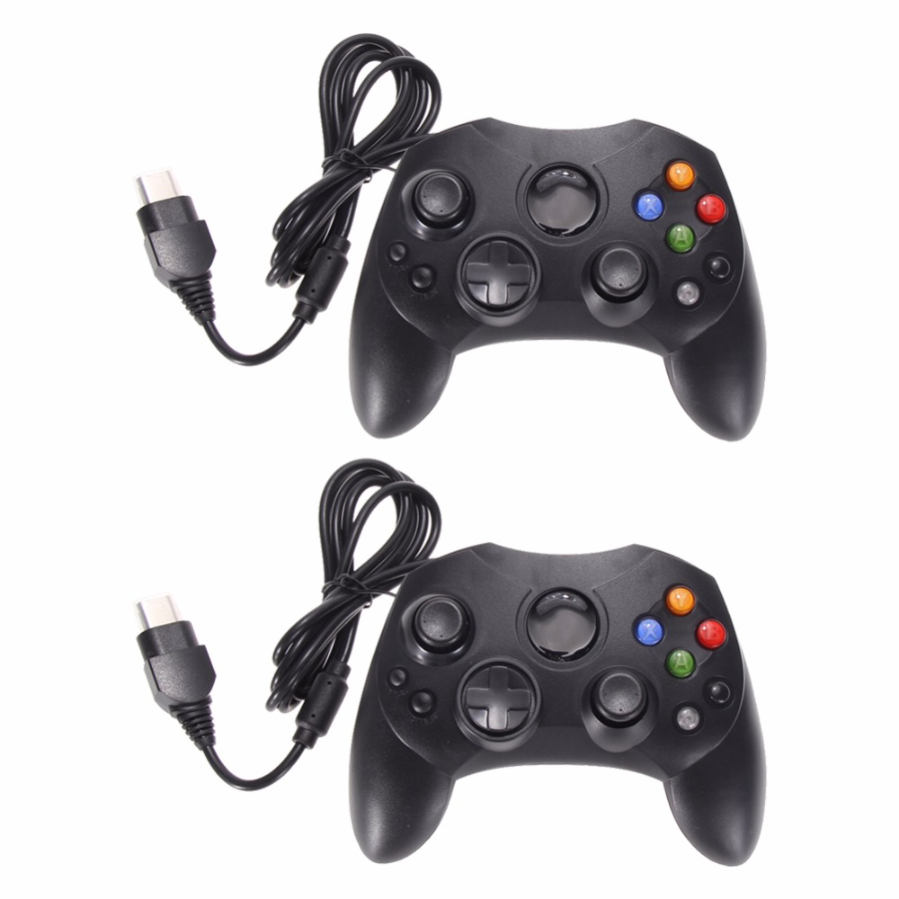 2 Pcs / Lot Mode Hitam Wired Gaming Controller Game Pad Joystick untuk Microsoft XBOX S Sistem Jenis 2 Gamepad Dengan 1.47 m Kabel