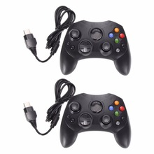 2Pcs/Lot Fashion Black Wired Gaming Controller Game Pad Joystick for Microsoft XBOX S System Type 2 Gamepad With 1.47m Cable