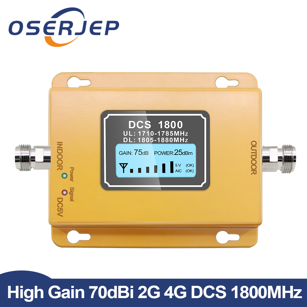 Gsm Lte 1800 Booster LCD Display 70dB Gain 2g 4g LTE Cell Phone Booster DCS 1800MHz