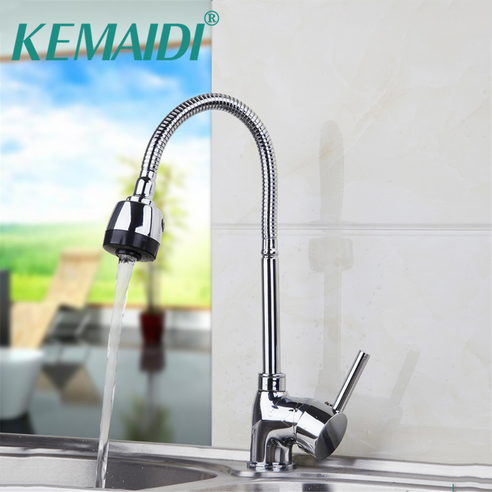 KEMAIDI Luxury Kitchen Faucet 360 Degree Swivel Solid Brass Kitchen Mixer Tap Chrome Finished Single Handle Mixer Deck Mounted