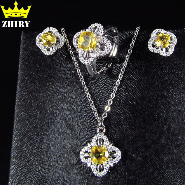 Women Natural Citrine Gem Stone Jewelry Set Ring Necklace Pendant Earrings Solid Sterling Silver Lady